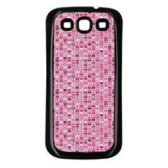 Abstract Pink Squares Samsung Galaxy S3 Back Case (black)