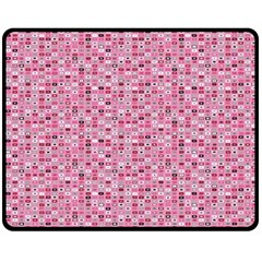Abstract Pink Squares Double Sided Fleece Blanket (Medium)
