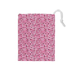 Abstract Pink Squares Drawstring Pouches (Medium)