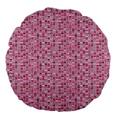 Abstract Pink Squares Large 18  Premium Flano Round Cushions