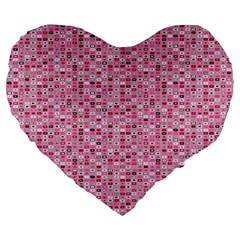 Abstract Pink Squares Large 19  Premium Flano Heart Shape Cushions