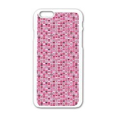 Abstract Pink Squares Apple Iphone 6/6s White Enamel Case
