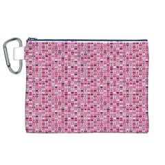 Abstract Pink Squares Canvas Cosmetic Bag (XL)