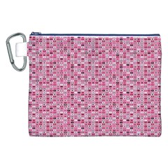 Abstract Pink Squares Canvas Cosmetic Bag (xxl)