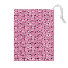 Abstract Pink Squares Drawstring Pouches (Extra Large)