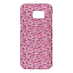 Abstract Pink Squares Samsung Galaxy S7 Edge Hardshell Case