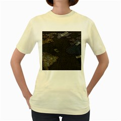 World Map Women s Yellow T-Shirt
