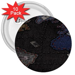 World Map 3  Buttons (10 pack)