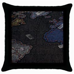 World Map Throw Pillow Case (Black)