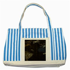 World Map Striped Blue Tote Bag