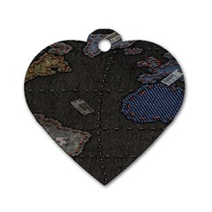 World Map Dog Tag Heart (Two Sides)