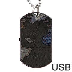 World Map Dog Tag USB Flash (One Side)
