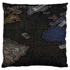 World Map Large Flano Cushion Case (Two Sides)