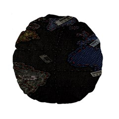 World Map Standard 15  Premium Flano Round Cushions