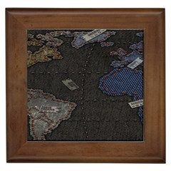 World Map Framed Tiles