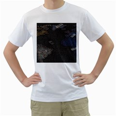 World Map Men s T-Shirt (White) (Two Sided)