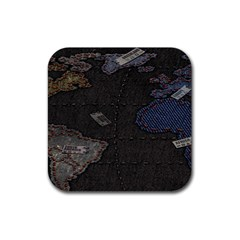 World Map Rubber Square Coaster (4 pack)