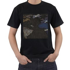 World Map Men s T-Shirt (Black) (Two Sided)