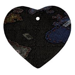 World Map Heart Ornament (Two Sides)