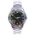 World Map Stainless Steel Analogue Watch Front
