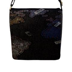 World Map Flap Messenger Bag (l)
