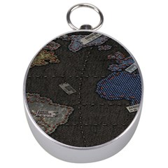 World Map Silver Compasses