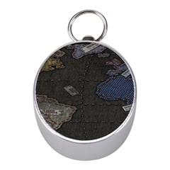 World Map Mini Silver Compasses