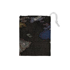 World Map Drawstring Pouches (Small)