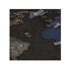 World Map Small Satin Scarf (Square)