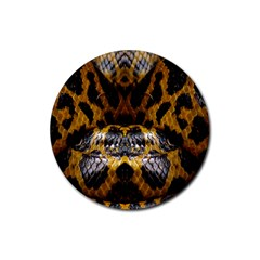 Textures Snake Skin Patterns Rubber Round Coaster (4 pack)