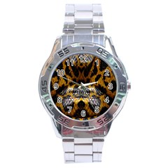 Textures Snake Skin Patterns Stainless Steel Analogue Watch