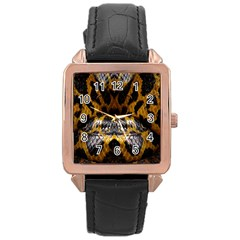 Textures Snake Skin Patterns Rose Gold Leather Watch