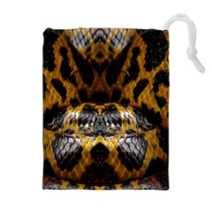 Textures Snake Skin Patterns Drawstring Pouches (extra Large)
