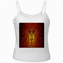 Lion Man Tribal White Spaghetti Tank