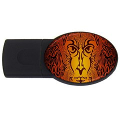 Lion Man Tribal Usb Flash Drive Oval (2 Gb)