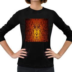 Lion Man Tribal Women s Long Sleeve Dark T Shirts