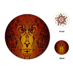 Lion Man Tribal Playing Cards (Round)