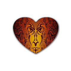 Lion Man Tribal Rubber Coaster (Heart)