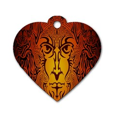 Lion Man Tribal Dog Tag Heart (one Side)