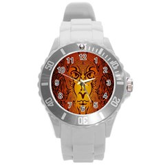 Lion Man Tribal Round Plastic Sport Watch (L)