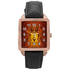 Lion Man Tribal Rose Gold Leather Watch