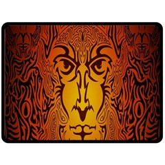 Lion Man Tribal Double Sided Fleece Blanket (large)