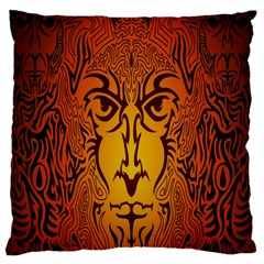 Lion Man Tribal Large Flano Cushion Case (one Side)