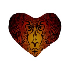 Lion Man Tribal Standard 16  Premium Flano Heart Shape Cushions