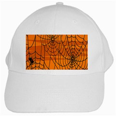 Vector Seamless Pattern With Spider Web On Orange White Cap