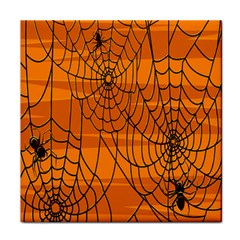 Vector Seamless Pattern With Spider Web On Orange Tile Coasters