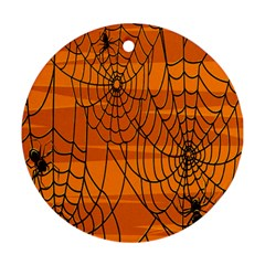 Vector Seamless Pattern With Spider Web On Orange Ornament (Round)