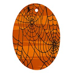 Vector Seamless Pattern With Spider Web On Orange Ornament (Oval)