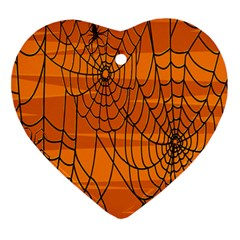 Vector Seamless Pattern With Spider Web On Orange Ornament (heart)