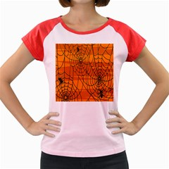 Vector Seamless Pattern With Spider Web On Orange Women s Cap Sleeve T Shirt